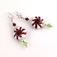 Christmas Candy Beaded Lampwork Earrings, Dangle Earrings, Women's Jewelry, Holiday Jewelry, Gifts, Fashion Accessories