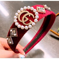 GUCCI New fashion letter more pearl headband hair clasp Red