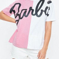 Missguided - Barbie x Missguided Pink Spliced T Shirt