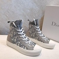 DIOR D-line.Pattern lace up flat bottomed casual shoes-5