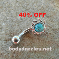 Turquoise Center Flower Belly Button Ring Navel Ring Belly Piercing 14ga 316L Surgical Stainless Steel Body Jewelry Black Friday Cyber Monday