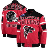Men's Atlanta Falcons G-III Extreme Red Blitz Cotton Twill Jacket