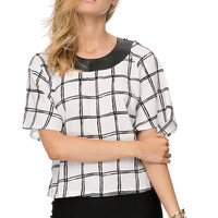 Black and White Plaid Chiffon T-Shirt