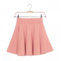 New Fashion Women Candy Color Stretch Waist Plain Skater Flared Pleated Mini Skirt