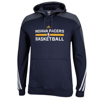 Indiana Pacers adidas Practice Pullover Hoodie – Navy Blue/Gray