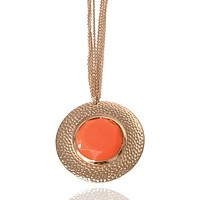 Hammered Medallion Circle Chain Necklace