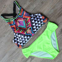 Fluorescent Color Summer Style Floral Print Bikini Push Up Bathing Suit