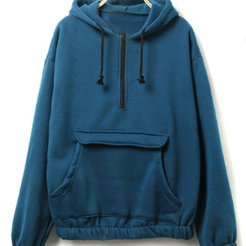 Steelblue Zipper Pocket Detail Fleece Lining Long Sleeve Hoodie