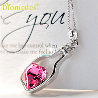 Newly Design Women Girlfriends Crystal Bottle Pendants Chain Necklace Jewelry Gift 160615 Drop Shipping