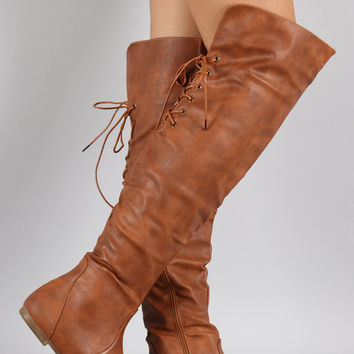 Back Lace Up Round Toe Over-The-Knee Boots