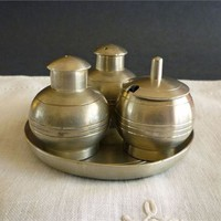 Selangor Pewter Condiment Set with Salt and Pepper Shakers