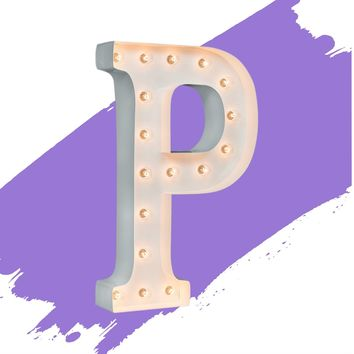 """24"""" Letter P Lighted Marquee Letters (White Gloss)"""