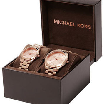 Michael Kors Watch Set, Men's and Women's Rose Gold-Tone Stainless Steel Bracelets 42mm and 34mm MK3205 - - Macy's