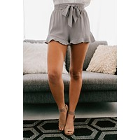 Born To Live Striped Ruffle Shorts (Grey)