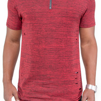 Ripped Marbled Long Length Extended Tee with Zipper (Red)