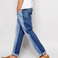 ASOS | ASOS Slim Jeans In Bleach Wash With Cut and Sew Panel at ASOS