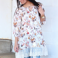 Darling Floral + Lace Tunic {Cream Mix}