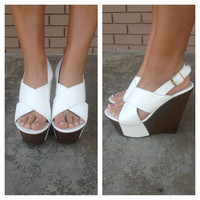 White Slingback Wedges