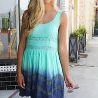 In A Daze Ruffle Lace Detail Mint Dip Dye Dress