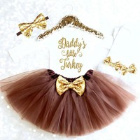 DADDY'S LITTLE TURKEY Baby Girl Infant Thanksgiving Outfits 4PCS Tops Tutu Skirts LegWarmers Clothes Set