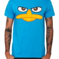 Disney Phineas And Ferb Perry The Platypus Face T-Shirt: Clothing