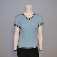 Vintage 1990's Short Sleeve Sweater Light Blue with Black Ringer V-Neck Cable Knit Clueless Size Small or Medium Lightweight Shirt Top