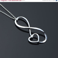 ON SALE Infinity Pendant - Heart Necklace - Infinity Jewelry - Heart Jewelry - Argentium Sterling Silver - Handmade