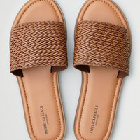 AEO Textured Wide Band Slide Sandal, Tan