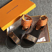 Louis Vuitton LV Fashionable Women Casual Leather Flat Slippers Sandals Shoes