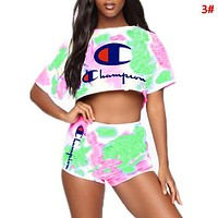 Champion Fashion New Letter Print Multicolor Sports Leisure Short Sleeve Top And Shorts Two Piece Suit 3#