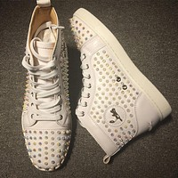 Cl Christian Louboutin Louis Spikes Style #1832 Sneakers Fashion Shoes