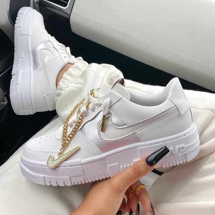 Image of Nike Air Force 1 White gold chain casual shoes