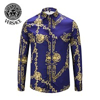 VERSACE Fashionable Men Women Print Long Sleeve Lapel Shirt Top