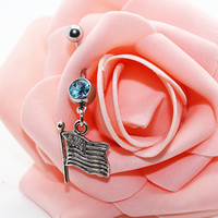 Flag belly button rings,Navel ring,Piercing belly ring,Friendship belly ring