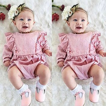 US Newborn Baby Girl Long Sleeve Ruffle Romper Jumpsuit Cotton Outfit Clothes