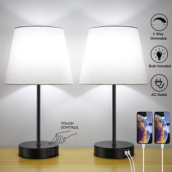 Touch Control Bedside Table Lamp Set of 2, Dual USB Charging Ports, 3 Way Dimmable Nightstand Lamp, 5000K Daylight White, TC Cloth Fabric Shade Modern Desk Reading Lamp for Bedroom Living Room