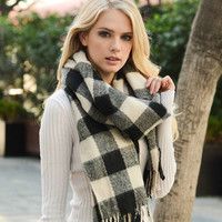 Check Craze Scarf | Black