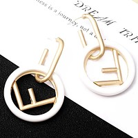 FENDI 925 Silver Needle Classic Hot Sale Women Circle F Letter Pendant Earrings Accessories Jewelry White