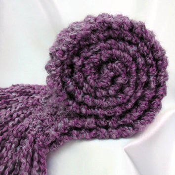 Purple Scarf Chunky Knit Long Soft Warm Hand Knitted Scarf Lavender Violet Plum Winter Spring