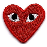 """Embird """"PLAY"""" COMME des GARCONS Red Heart Eyes Embroidered Iron On / Sew On Badge Applique Patch"""