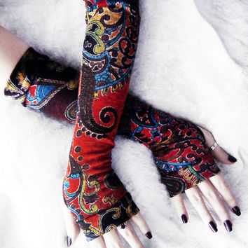 Bohemian Phoenix Arm Warmers -  Rust Red Orange Blue Brown Green Yellow Black Mehndi Paisley Floral Sweater Knit - Yoga Gothic Dark Tribal