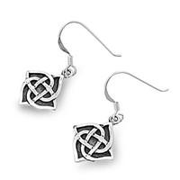 Sterling Silver Wicca Quadquetra Witchcraft Dangle Earrings