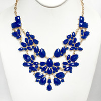 Disperse Stone Necklace Set In Royal Blue
