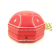 Antique Ring Box, Red Leather with Silver Details, Unusual Shape, Engagement Ring Presentation Box, Edwardian to Art Deco Era