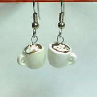 Hot Chocolate Earrings, Polymer Clay Jewelry,