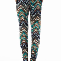 Navy/Teal  Printed 2 Pocket straight Bottom Pants
