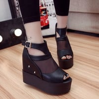 2016 New style women's summer shoes gauze chunky open toe sandals platform shoes female thick heel platform high heels female sandals = 5708915265