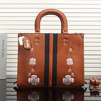 COACH Popular Women Flower Embroidery Leather Tote Handbag Shoulder Bag(5-Color) Brown I-OM-NBPF