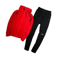 Nike Red and Black Sportswear Hooded Tracksuit