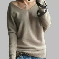 TIAN MU WANG. New Autumn and Winter Brand Women's High quality V-neck bat sleeve Cashmere Sweater = 1920277508